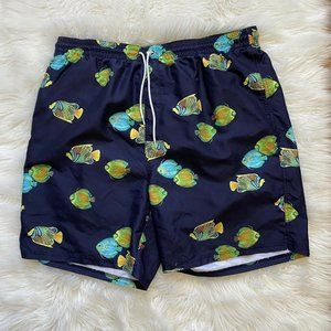 Old Navy Mens Swim Trunks XXL Fish Print 2XL Mesh